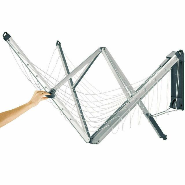 Brabantia 24 Metre Wall Fix Fold Away Clothes Line 4 Arm With Cover