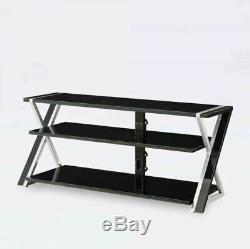 Black TV Stand For 65 Flat Panel TVs with Tempered Glass Shelves
