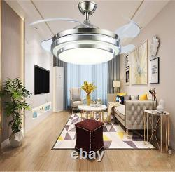Bluetooth Invisible Fan LED Ceiling Light Music Player Remote Chandelier 36/42