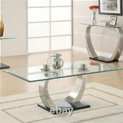 Bowery Hill Glass Top Coffee Table in Silver