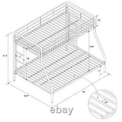 Bunk Bed Frame Twin Over Full Metal Home Kids Furniture Comfortable Space Saver