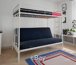 Bunk Beds Student Loft Bed Frame for Girls Kids Teens Twin Over Full Futon White