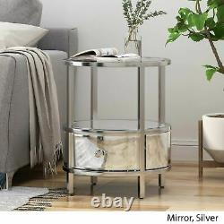 Celina Modern Round End Table with Tempered Glass Drawers and Stainless Steel Fr