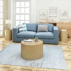 Chloe Modern Round 3 Piece Iron Accent and Coffee Table Set