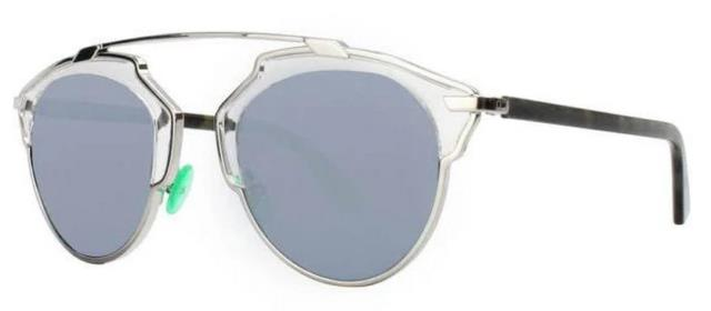 Christian Dior So Real Nsy T7 Silver And Clear/grey Green Mir Sunglasses -48 Mm