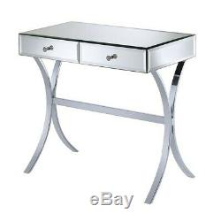 Coaster 2 Drawer Mirrored Accent Console Table in Silver