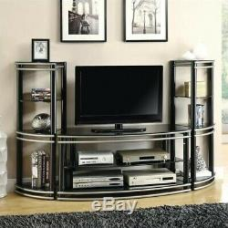Coaster 2 Tier 47 Glass Top TV Stand in Black and Silver
