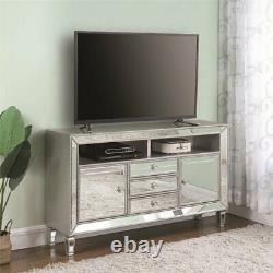 Coaster 60 3 Drawer Mirrored TV Stand in Platinum and Champagne