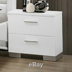 Coaster Felicity 2 Drawer Nightstand in Glossy White and Chrome
