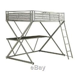 Coaster Full Workstation Loft Bunk Bed with Desk in Silver