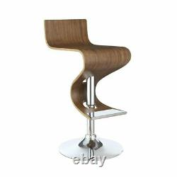 Coaster S Shaped Adjustable Bar Stool in Walnut and Chrome