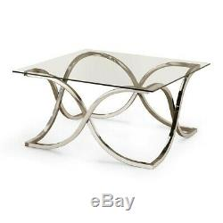 Coaster Tess Glass Top Coffee Table in Chrome