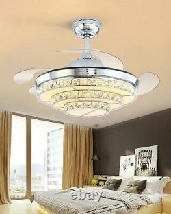 Crystal Ceiling Fan with Light, Modern Ceiling Fan, Remote, 4-Blade Retractable