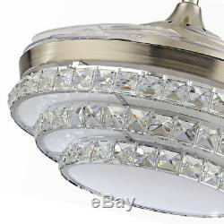 Crystal Invisible Ceiling Fan Light LED Chandelier Silver Fan Lamp +Remote 42