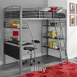 DHP Studio Loft Bunk Bed Over Desk and Bookcase Twin in Gray