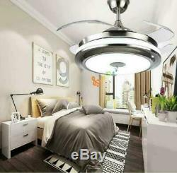 Dimmable 42 Invisible Ceiling Fan Lamp Bluetooth Speaker Led Chandelier Remote