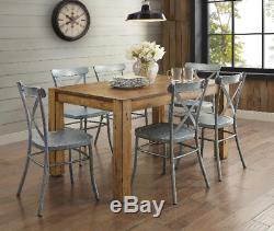 Distressed Metal Dining Chairs Set of 2 Modern Farmhouse Kitchen Silver Grey New