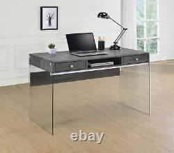 Dobrev 2-DrawerHome Office Writing Desk Weathered Grey And Clear