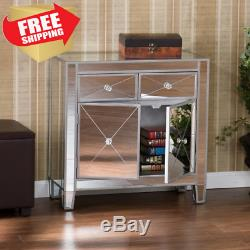 Drawer Cabinet Mirrored Nightstand Dresser End Side Table Storage Silver Accent