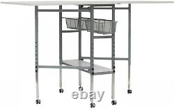 Folding Multipurpose Hobby Craft Cutting Table Drawers Casters Adjustable Height