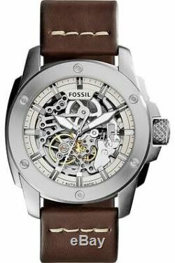Fossil ME3083 Modern Machine Automatic Skeleton Dial Brown Band 50mm Men's Watch