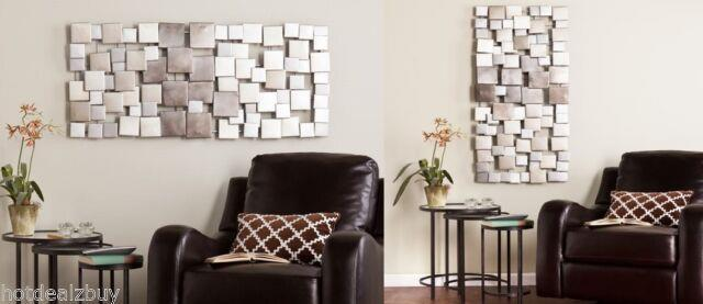 Geometric Silver Huge Abstract Metal Wall Sculpture Art Modern Square Decor Home