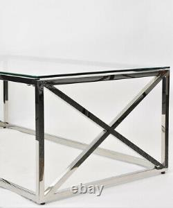 Glass Coffee Table Chrome Stainless Steel Modern Tempered Glass Living Room