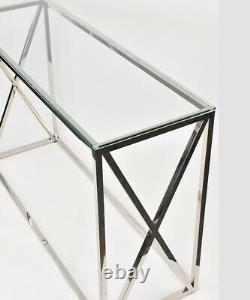 Glass Console Table Chrome Stainless Steel Modern Tempered Glass Living Room