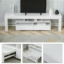 Glossy TV Stand Unit Cabinet with Drawers LED Living Room Furniture for 70 TV