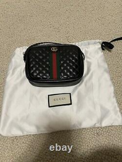 Gucci Black Ophidia Shoulder Bag Quilted Leather Crossbody/ Belt Bag GG Small