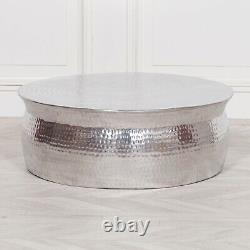 Hammered Aluminium Side Table Drum Table Coffee Hammered Stand Bedside