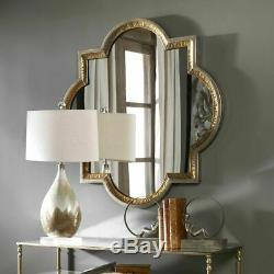 Hammered Metal Modern Moroccan Farmhouse Accent Wall Mirror XL Gold Silver 40