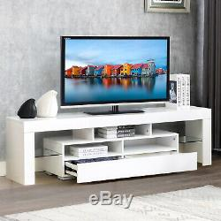 High Gloss 63'' TV Stand Unit Cabinet 2 Drawers Console Table with Colorful LED RC
