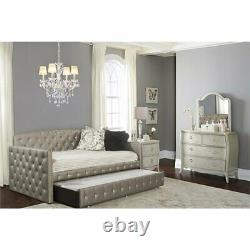 Hillsdale Memphis Faux Leather Tufted Daybed with Trundle in Pewter