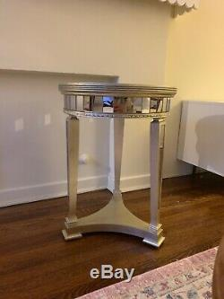 Horchow Z Gallerie Borghese Style Champagne Mirrored Round Accent Side Table