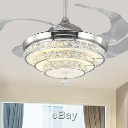 Invisible 42 Crystal Remote LED Chandelier Retractable Blade Ceiling Fan Light