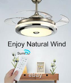 Invisible 42Ceiling Fan Light Retractable Blade Dining Room Chandelier WithRemote