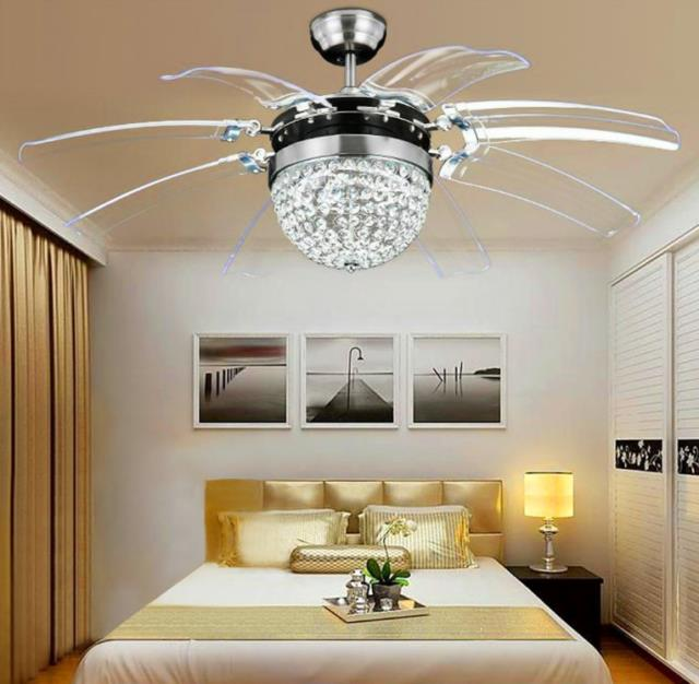 Invisible Crystal Ceiling Fan Light Lamp Chandelier +remote 8 Blades Home 42