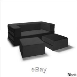 Jaxx Loveseat Couch Sofa Bed Ottomans Convertible Queen Sleeper Bench Pewter NEW