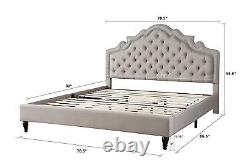 King Size Gray Platform Upholstered Bed Frame with Button Tufted Arch Headboard