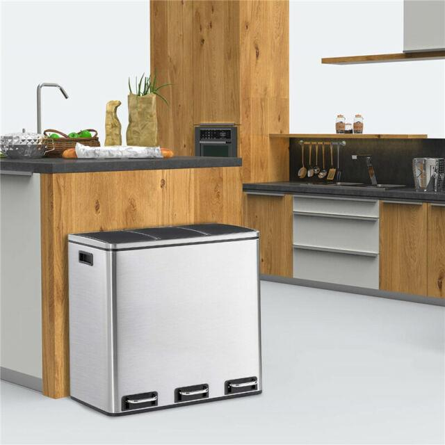 Kitchen Office 14 Gal Stainless Steel Trash Can Garbage Can 3 Removable Buckets