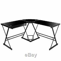 L Shaped Desk Glass Corner Computer Gaming at Home Office to Study Work Write