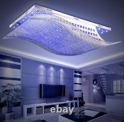 LED 4-Colors Remote Control Ceiling Lamp K9 Crystal Chandelier Lighting Fixture