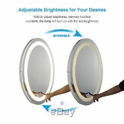 LED Bathroom Wall Mount Mirror Illuminated Lighted Vanity Mirror WithTouch Button