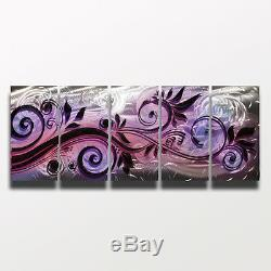 Large Metal Wall Art Modern Abstract Sculpture Purple Painting Home Decor