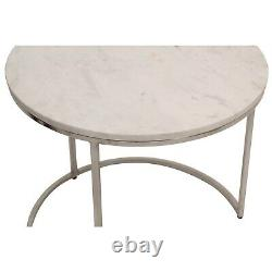 Large White Marble Nesting Tables with Silver Base Set of 2 Martina