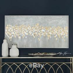 Luxe Metallic Gold Silver Dots Abstract Painting 61 Long Wall Art Modern Gray