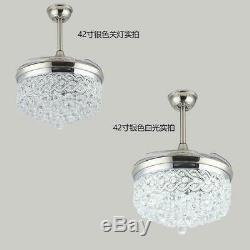 Luxury Crystal Pendant LED Chandelier 42 Silver Invisible Ceiling Fan with Remote