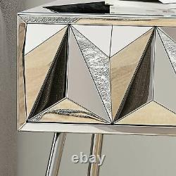 Mag Modern Glam Mirrored Side Table With Drawer
