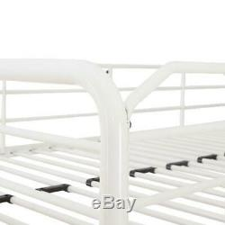 Metal Bunk Bed Twin Over Twin With Ladder Kids Bed Room Dorm Durable Steel White